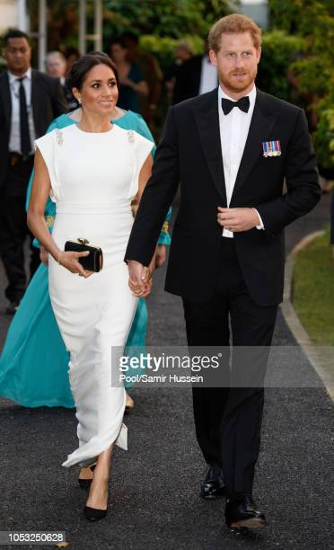 Prince Harry Duke of Sussex and Meghan Duchess of Sussex visits the Consular House in NukuÕalofa for a private audience with King Tupou VI and Queen...