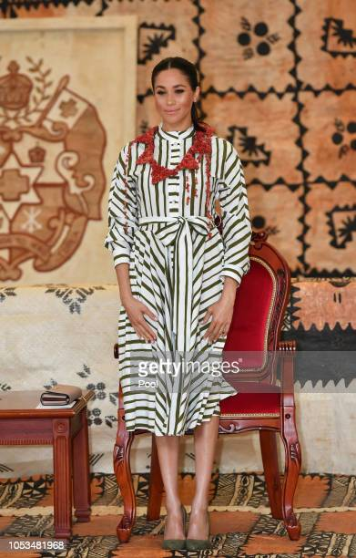 Prince Harry Duke of Sussex and Meghan Duchess of Sussex visits the Fa'onelua Convention Centre on October 26 2018 in Nuku'alofa Tonga The Duke and...