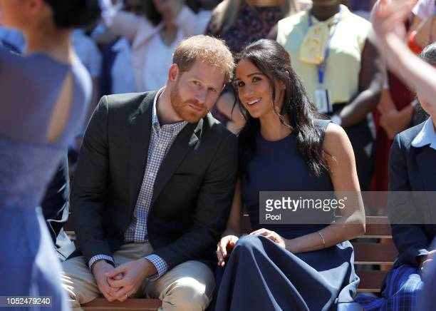 Prince Harry, Duke of Sussex and Meghan, Duchess of Sussex watch a performance during their visit to Macarthur Girls High School on October 19, 2018...