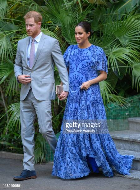 Prince Harry Duke of Sussex and Meghan Duchess of Sussex with King Mohammed VI of Morocco during an audience at his residence on February 25 2019 in...