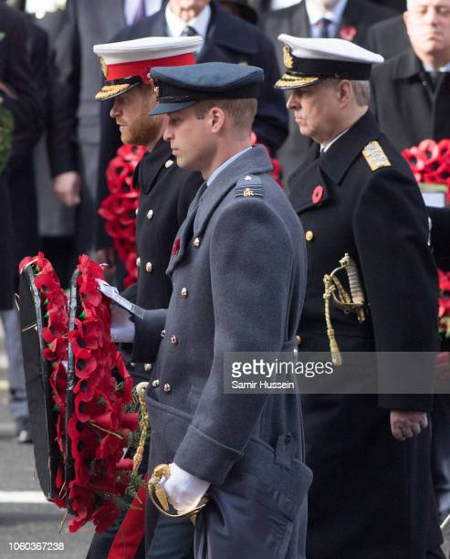 Prince Harry Duke of Sussex and Prince William Duke of Cambridge attend the annual Remembrance Sunday memorial on November 11 2018 in London England