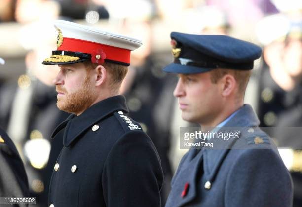 Prince Harry, Duke of Sussex and Prince William, Duke of Cambridge attend the annual Remembrance Sunday memorial at The Cenotaph on November 10, 2019...