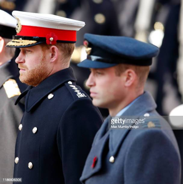 Prince Harry Duke of Sussex and Prince William Duke of Cambridge attend the annual Remembrance Sunday service at The Cenotaph on November 10 2019 in...