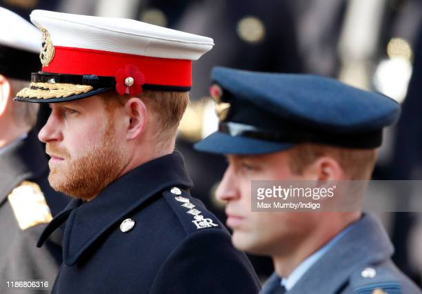 Prince Harry, Duke of Sussex and Prince William, Duke of Cambridge attend the annual Remembrance Sunday service at The Cenotaph on November 10, 2019...
