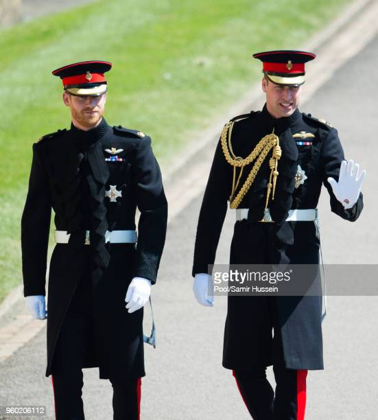 Prince Harry Duke of Sussex and Prince William Duke of Cambridge attend the wedding of Prince Harry to Ms Meghan Markle at St George's Chapel Windsor...