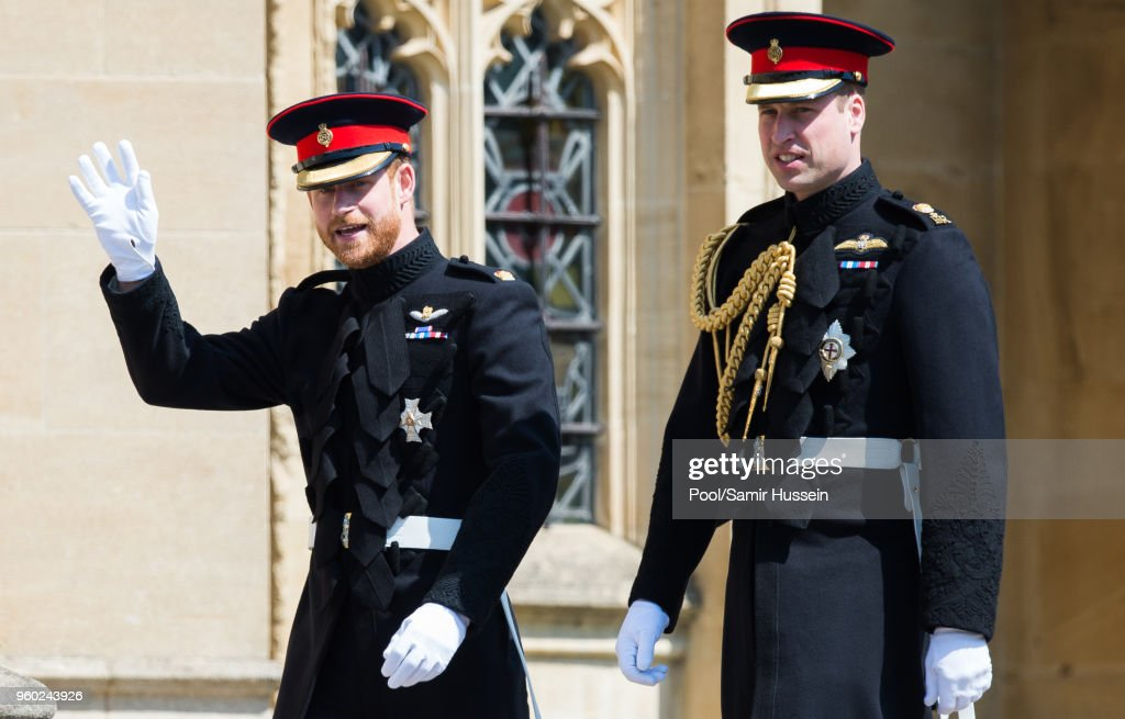 Prince Harry, Duke of Sussex and Prince William, Duke of Cambridge attend the wedding of Prince Harry to Ms Meghan Markle at St George's Chapel, Windsor Castle on May 19, 2018 in Windsor, England. Prince Henry Charles Albert David of Wales marries Ms. Meghan Markle in a service at St George's Chapel inside the grounds of Windsor Castle. Among the guests were 2200 members of the public, the royal family and Ms. Markle's Mother Doria Ragland.