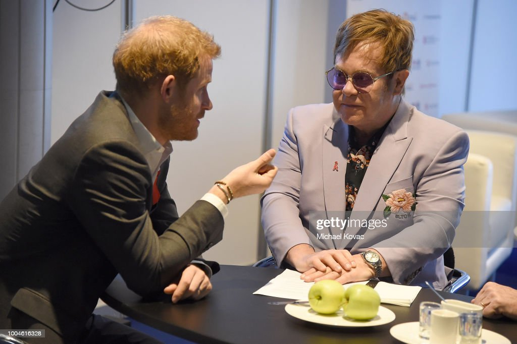 Prince Harry, Duke of Sussex (L) and Sir Elton John attend the Launch of the Menstar Coalition To Promote HIV Testing & Treatment of Men on July 24, 2018 in Amsterdam, Netherlands.