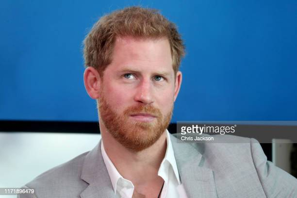 Prince Harry Duke of Sussex announces a partnership between Bookingcom SkyScanner CTrip TripAdvisor and Visa called 'Travalyst' at A'dam Tower on...
