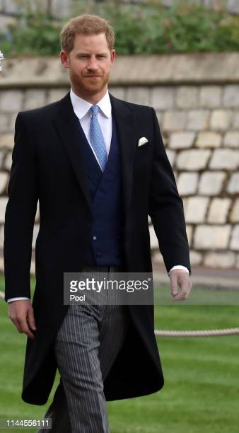 Prince Harry, Duke of Sussex arrives ahead of the wedding of Lady Gabriella Windsor and Thomas Kingston at St George's Chapel on May 18, 2019 in...
