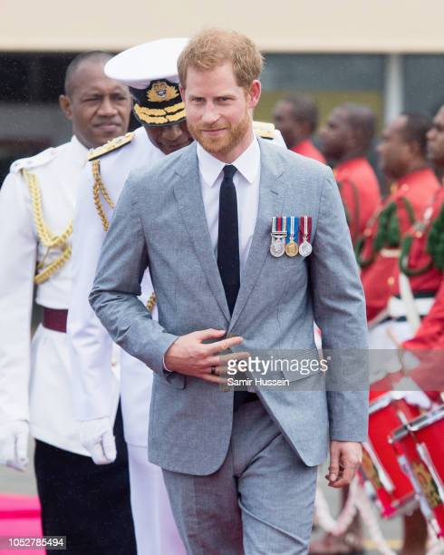Prince Harry Duke of Sussex arrives at Nausori Airport on October 23 2018 in Suva Fiji The Duke and Duchess of Sussex are on their official 16day...