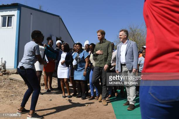 Prince Harry Duke of Sussex arrives at The Princes' foundation for children in Africa Sentebale at the Chobe district in the Northern Botswana on...