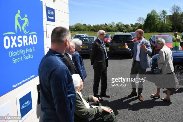 Prince Harry Duke of Sussex arrives for a visit to the OXSRAD Disability Sports and Leisure Centre on May 14 2019 in Oxford England