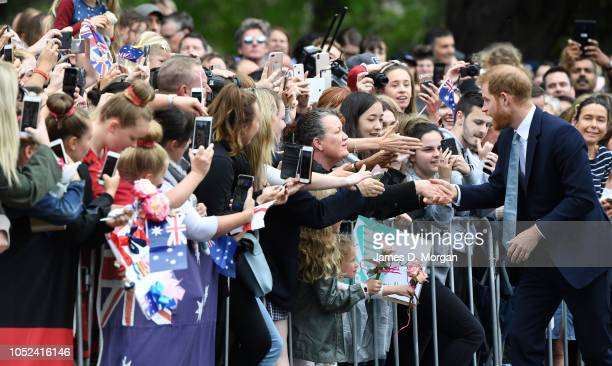 Prince Harry Duke of Sussex attends a public walk and greet at Government House on October 18 2018 in Melbourne Australia The Duke and Duchess of...