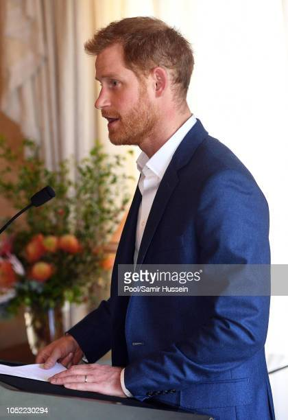 Prince Harry Duke of Sussex attends a reception hosted by the GovernorGeneral at Admiralty House on October 16 2018 in Sydney Australia The Duke and...