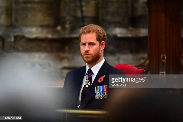 Prince Harry Duke of Sussex attends the ANZAC Day Service of Commemoration and Thanksgiving at Westminster Abbey on April 25 2019 in London United...