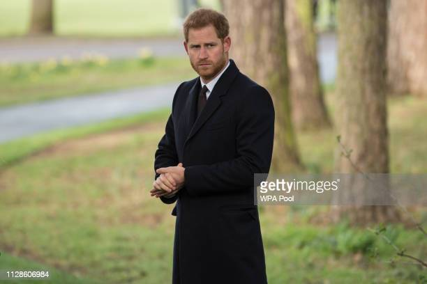 Prince Harry Duke of Sussex attends the dedication ceremony for the Sousse and Bardo Memorial in Cannon Hill Park on March 4 2019 in Birmingham...