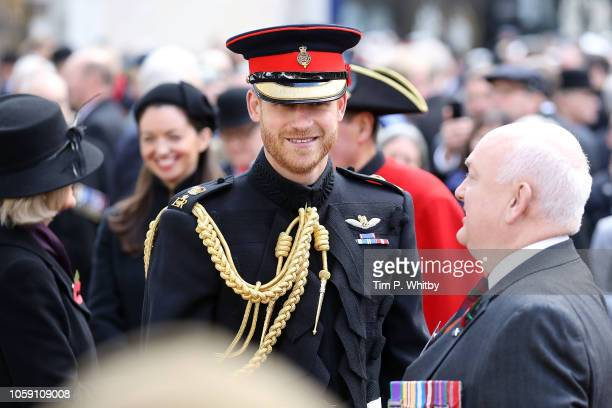 Prince Harry Duke of Sussex attends the field of remembrance service at Westminster Abbey on November 8 2018 in London England