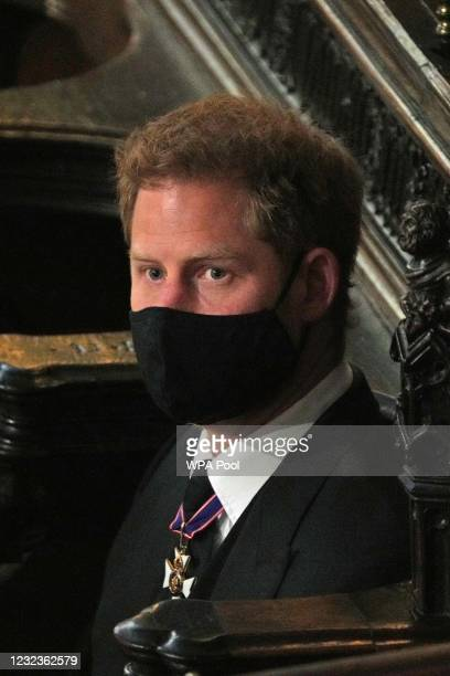 Prince Harry, Duke of Sussex attends the funeral of Prince Philip, Duke of Edinburgh in St George's Chapel at Windsor Castle on April 17, 2021 in...
