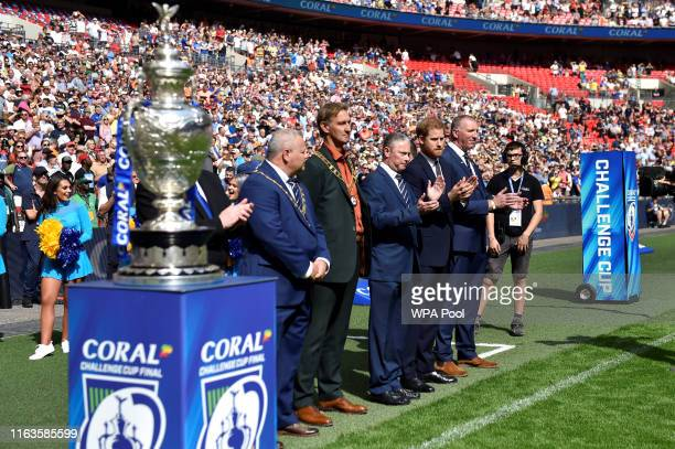 Prince Harry, Duke of Sussex attends The Rugby League Challenge Cup Final, St Helens v Warrington Wolves, at Wembley Stadium on August 24, 2019 in...