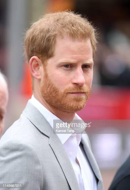 Prince Harry, Duke of Sussex attends the Virgin London Marathon 2019 on April 28, 2019 in London, United Kingdom.