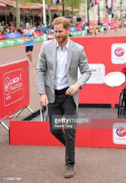 Prince Harry Duke of Sussex attends the Virgin London Marathon 2019 on April 28 2019 in London United Kingdom