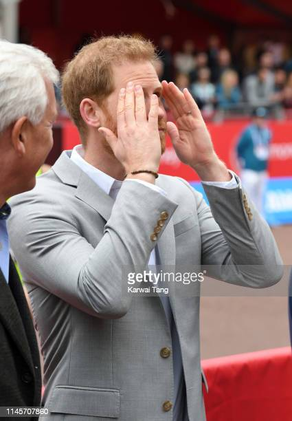 Prince Harry, Duke of Sussex attends the Virgin London Marathon 2019 on April 28, 2019 in London, United Kingdom.