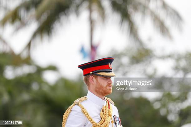 Prince Harry Duke of Sussex attends the War Memorial Wreath Laying on October 24 2018 in Suva Fiji The Duke and Duchess of Sussex are on their...
