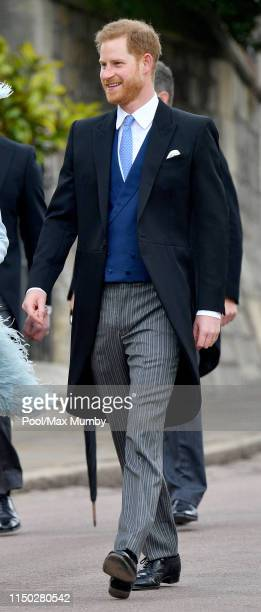 Prince Harry Duke of Sussex attends the wedding of Lady Gabriella Windsor and Thomas Kingston at St George's Chapel on May 18 2019 in Windsor England