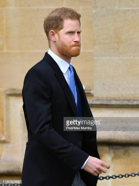 Prince Harry, Duke of Sussex attends the wedding of Lady Gabriella Windsor and Thomas Kingston at St George's Chapel on May 18, 2019 in Windsor,...
