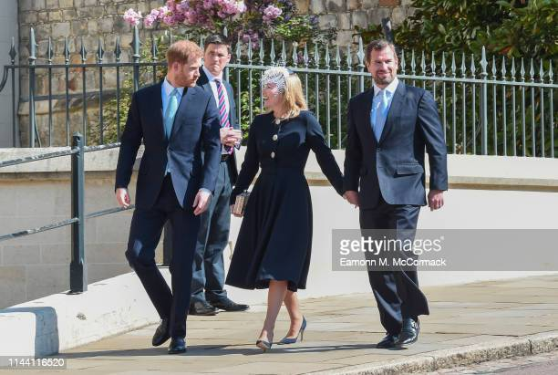 Prince Harry Duke of Sussex Autumn Phillips and Peter Phillips attend the Easter Sunday service at St George's Chapel on April 21 2019 in Windsor...