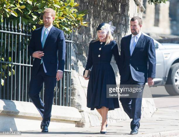 Prince Harry Duke of Sussex Autumn Phillips and Peter Phillips attend Easter Sunday service at St George's Chapel on April 21 2019 in Windsor England