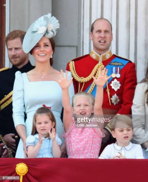 Prince Harry Duke of Sussex Catherine Duchess of Cambridge Princess Charlotte of Cambridge Savannah Phillips Prince George of Cambridge watch the...