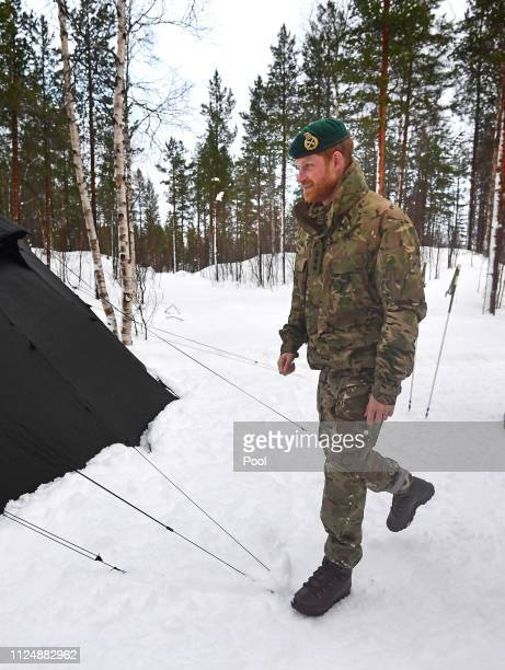 Prince Harry Duke of Sussex during a visit to Exercise Clockwork in Bardufoss Norway for a celebration of the 50th anniversary of the Commando...