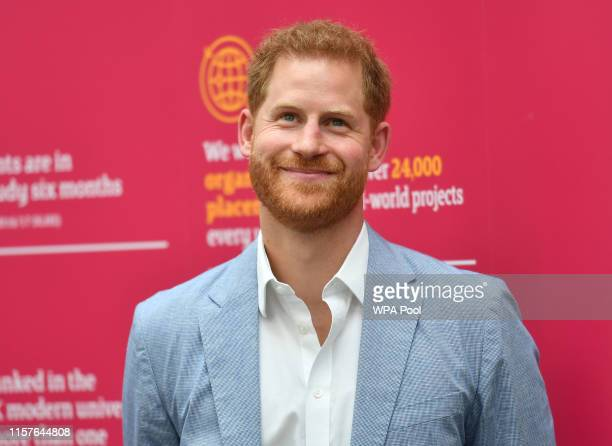Prince Harry Duke of Sussex during a visit to Sheffield Hallam University to learn about their commitment to applied learning in teaching and...
