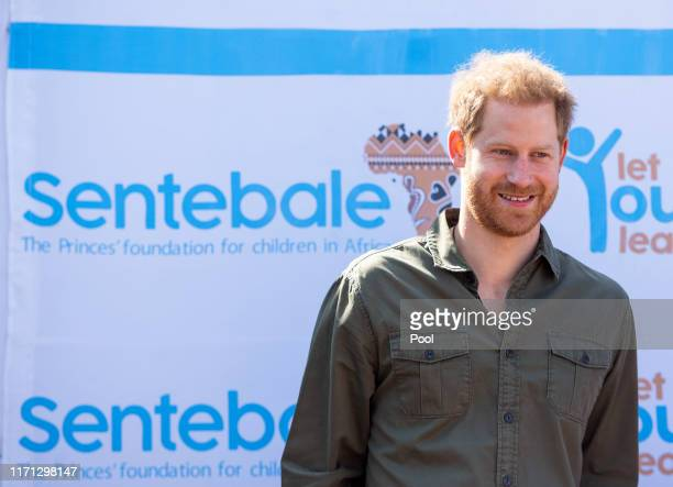 Prince Harry Duke of Sussex during a visit to the Kasane Health Post run by the Sentebale charity in Kasane on day four of their tour of Africa on...