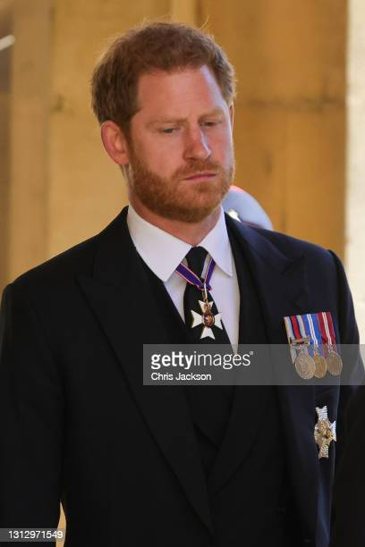 Prince Harry, Duke of Sussex during the Ceremonial Procession during the funeral of Prince Philip, Duke of Edinburgh at Windsor Castle on April 17,...