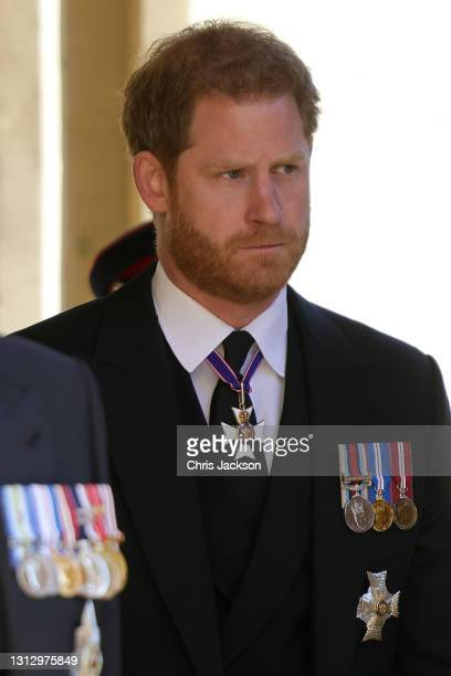 Prince Harry, Duke of Sussex during the funeral of Prince Philip, Duke of Edinburgh at Windsor Castle on April 17, 2021 in Windsor, England. Prince...