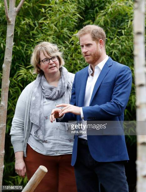 Prince Harry Duke of Sussex gestures as he speaks to Becci Speight the CEO of the Woodland Trust before planting a tree from the Woodland Trust at St...