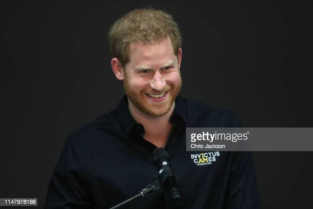 Prince Harry, Duke of Sussex gives a speech at Sportcampus Zuiderpark during a visit to The Hague as part of a programme of events to mark the...