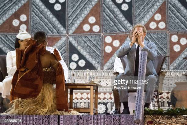 Prince Harry Duke of Sussex Harry takes a sip of Kava the national drink of Fiji during official welcome ceremony in the city centre's Albert Park on...