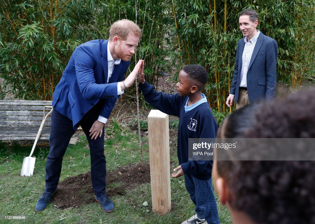 GBR: The Duke Of Sussex Visits St Vincent's Catholic Primary School In Acton