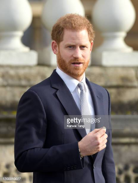 Prince Harry Duke of Sussex hosts the Rugby League World Cup 2021 draws for the men's women's and wheelchair tournaments at Buckingham Palace on...