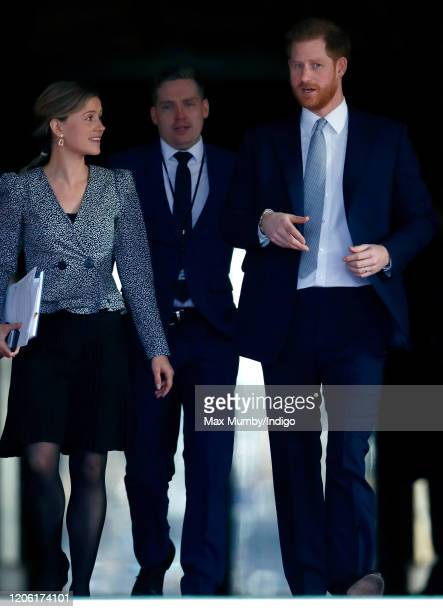 Prince Harry Duke of Sussex accompanied by Clara Loughran his senior programme coordinator hosts the Rugby League World Cup 2021 draws for the men's...