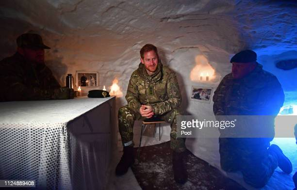 Prince Harry Duke of Sussex in a Quincey Shelter a makeshift shelter built of snow during a visit to Exercise Clockwork in Bardufoss Norway for a...