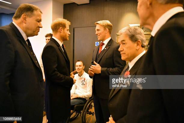 Prince Harry Duke of Sussex is introduced to descendants of two England captains who died in the First World War Jack Davis who is the great great...