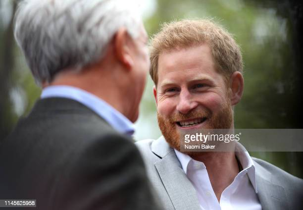 Prince Harry Duke of Sussex is seen during the 2019 Virgin Money London Marathon in the United Kingdom on April 28 2019 in London England