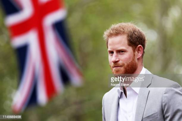 Prince Harry Duke of Sussex is seen during the Virgin Money London Marathon at United Kingdom on April 28 2019 in London England