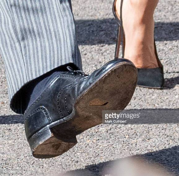 Prince Harry Duke of Sussex is seen with a hole in his shoe attends the wedding of Charlie Van Straubenzee and Daisy Jenks on August 4 2018 in...