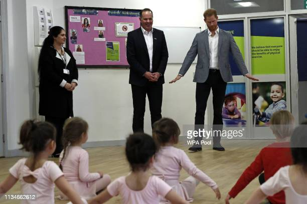 Prince Harry Duke of Sussex joins children taking part in ballet class for 4 to 6 year olds during a visit to YMCA South Ealing to learn more about...