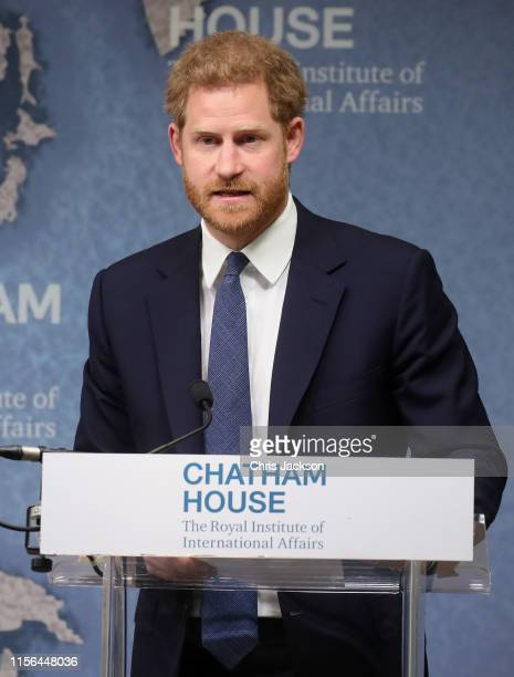 Prince Harry Duke of Sussex makes a speech as he attends the Chatham House Africa Programme event on Mine Clearance Conservation and Economic...